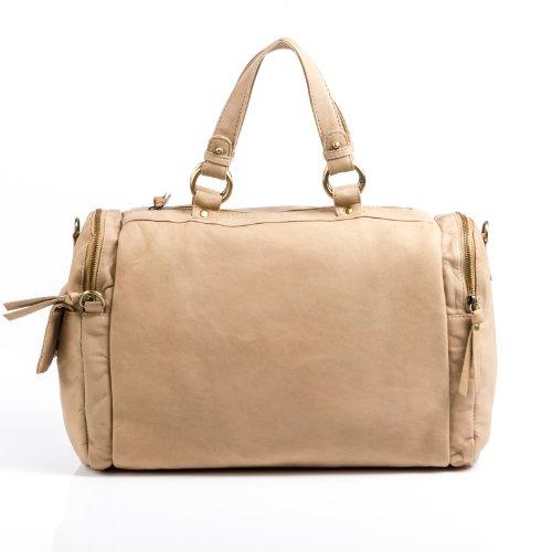 Baccini bolso de viaje BETTY: cartera estilo weekender para mujer GRANDE - bolsa deporte de cuero beige - (34 x 30 x 10cm)