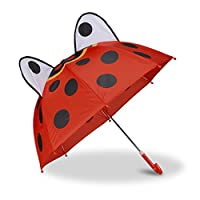 Relaxdays Children's Umbrella 3D Animal Print, Kids Umbrella for Boys and Girls, Small Brolly Age 3, Colourful