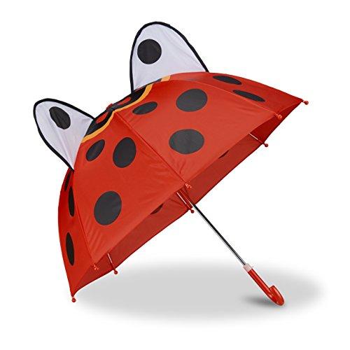 Relaxdays Kinderregenschirm mit 3D Marienkäfer, Regenschirm für Mädchen und Jungen, Stockschirm mit Punkten, rot