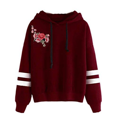 Damen Hoodie Kapuzenpullis, Keepwin Frauen Langarm Kapuzenpulli Sweatshirt Pullover Tops Kapuzen Bluse (S, Stickerei | Weinrot B)