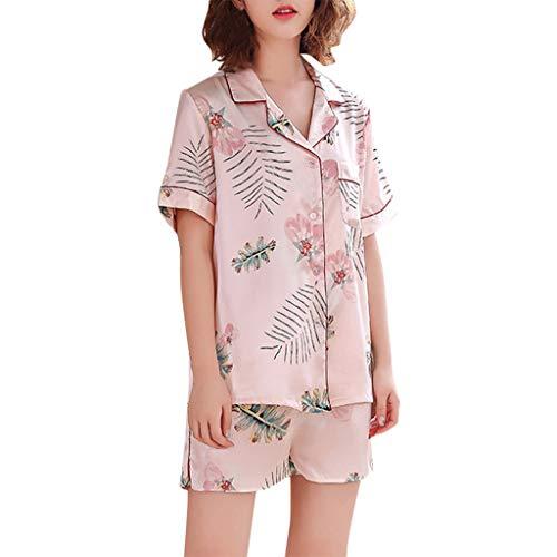 Underwear Damen FGHYH Frauen Simulation Silk Printing Pattern Pyjamas Nachtwäsche Nachtwäsche Set(XXL, Rosa) -