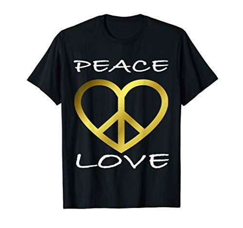 Peace Love Flower 60er 70er: Jahre Hippie-Kostüm T-Shirt (Black Hippies Den 60er In Jahren)