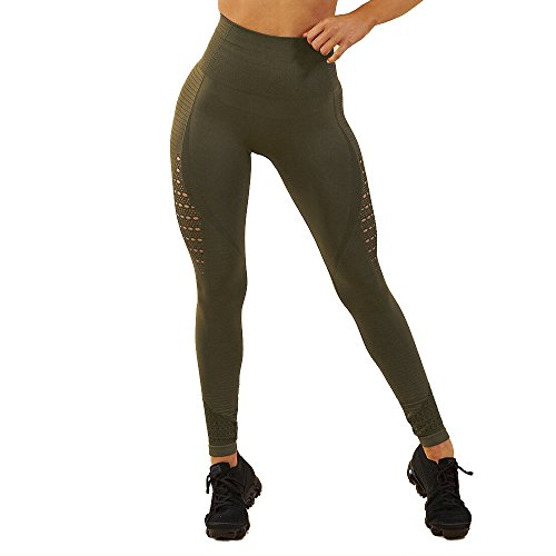 94b6afb9a FITTOO Women High Waist Hollow Out Lace Patchwork Slim Yoga Pants Fitness  Gym Workout Leggings