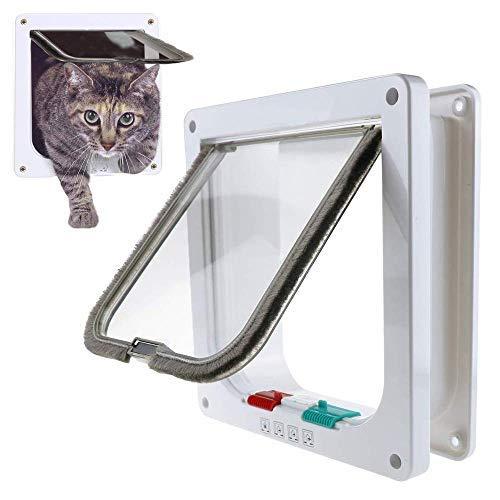 Wadeo gattaiola porta basculante per gatti e cani, gattaiola per gatti con serratura per entrata e uscita controllabile,bianco