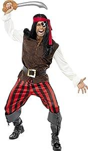 Smiffys Disfraz de tripulante de Barco Pirata, Top, Pantalones, pañuelo y cinturón
