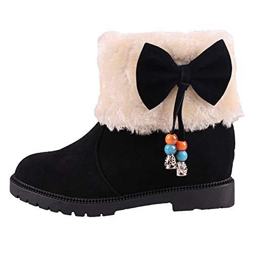 Bottes Femme Binggong Chaussures de Neige, Boots Shoes Automne Hiver Bottes Fourrées Femmes Bottes Slip-on Soft Bottes de Neige Arc Confortables Plat Fourrure Hiver Bottines
