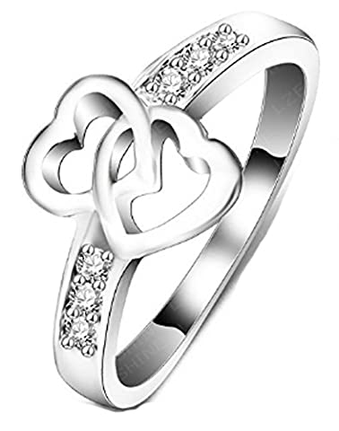 SaySure - Silver Plated Double Heart Wedding (SIZE : 7)