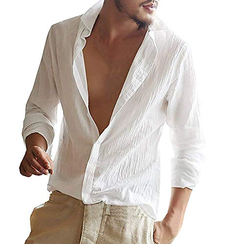 54a42e01f3 Minetom Homme Chemise en Lin Manches Longues Slim Fit Sexy Col V Shirt Tops  Mode Casual