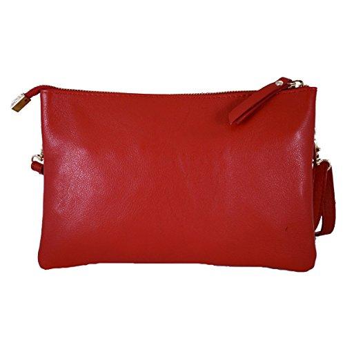 Pochette En Cuir Véritable Avec Deux Compartiments Couleur Rouge - Maroquinerie Fait En Italie - Sac Femme