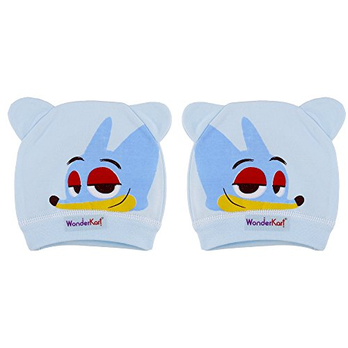 WonderKart Cool Stylish Adorable Cotton Baby Cap Pack of 2 (0-12 months) - Blue
