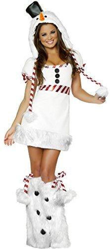 Damen Sexy Feurig Weihnachten Schneemann Festive Kostüm Kleid Outfit UK 8-10-12
