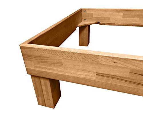 SAM® Massiv-Holzbett Jessica in Wildeiche geölt, Bett mit geteiltem Kopfteil, natürliche Maserung, massive widerstandsfähige Oberfläche in warmem Braunton, 140 x 200 cm - 3