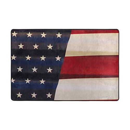 FAJRO Vintage American Flag Schlamm Schuh Schaber Bereich Teppich Eingang Weg Fußmatte Multimuster Fußmatten Home Dec Anti-Rutsch Indoor Outdoor, Polyester, 1, 72 x 48 inch - American Bereich 48 Zoll