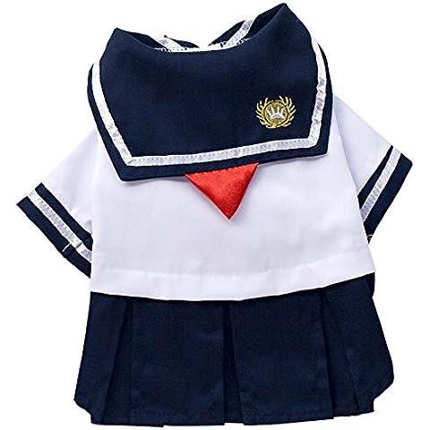 Eizur Cane Uniforme Vestito Cucciolo Studente Marina GonnaTutù Maglietta Abito Estivo Vestiti Abbigliamento Camicia Costumi Taglia L