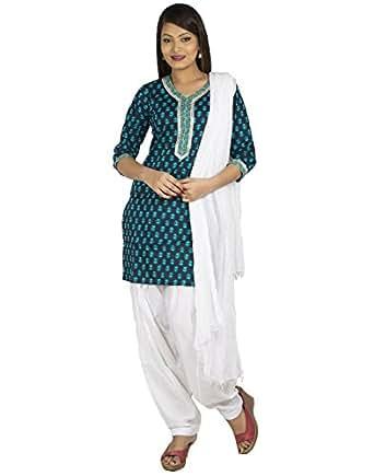 Jaipur Kurti Women Cotton Salwar Suit Set (Jkptd2291-M _Blue And White _Medium)