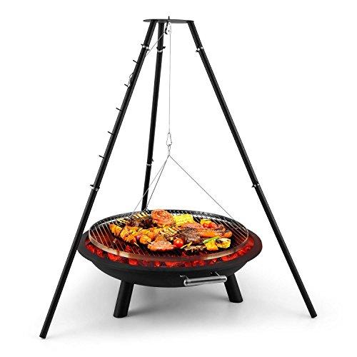 Blumfeldt Arco Trino Grill brasero suspendu (foyer de 96cm de diamètre, grill de 70cm Ø, hauteur réglable, barbecue sur trépied, plaque acier 1,55mm d'épaisseur)