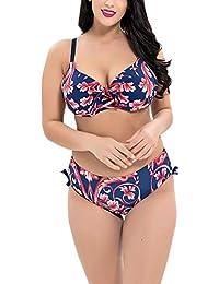31d13712d164 LiangZhu Donna Due Pezzi Costumi da Bagno Bikini Bowknot Stampato Set Push  Up Beachwear