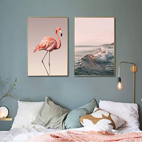 XWArtpic Moderne Romantique Rose Pivoine Flamingo Amour Mur Art Vague Scène Photos Toile Peintures Nordic Posters Prints Chambre Décor À La Maison D 30 * 40 cm