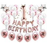 37 Piece 1st BIRTHDAY GIRL DECORATIONS Set | Great for 1st Birthday Party Supplies and Rose Gold Party Decorations | Includes
