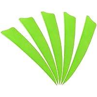ZSHJG 50 pcs Plumas de Flecha 4 Pulgadas Natural Fletches Turquía Fletching ala Derecha para la Caza DIY Flechas (Verde 2)