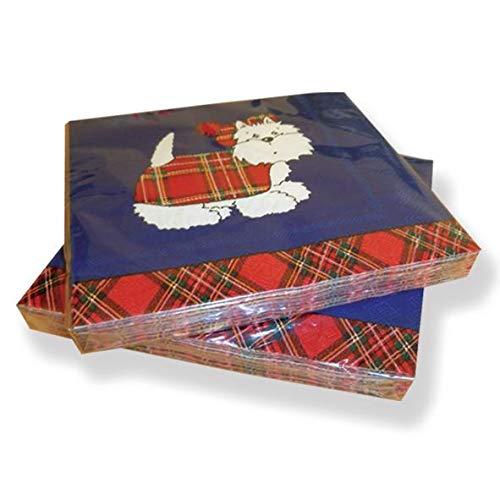 Papier-Servietten Westie Terrier mit Schottenrock