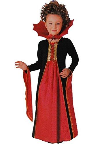 Unbekannt Folat, Costume, abito, carnevale, festa - travestimento da conte Dracula - vampiro donna - taglia 110 - 122 (4 / 6 anni)