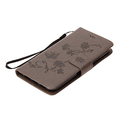 Coque pour Apple iPhone 8 WYSTORE Papillon de Lotus en relief PU Cuir portefeuille Housse Etui pour Apple iPhone 8 Case Coque Protection avec Béquille Flip Cover avec carte de crédit Slots - marron gris