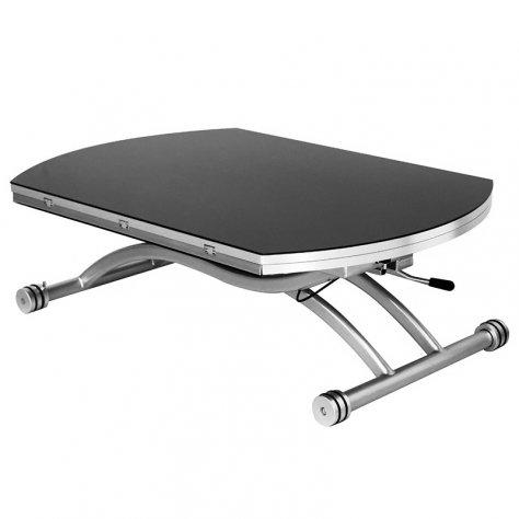 RDM Concept Table Basse relevable Ronde à allonges Colombia - Verre Noir (Diamètre 120 cm)