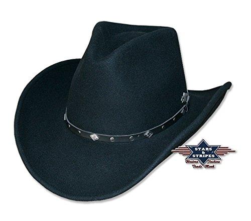 Stars & Stripes in feltro di lana cappello Lex Black nero 58-61 cm (24 Pollice)
