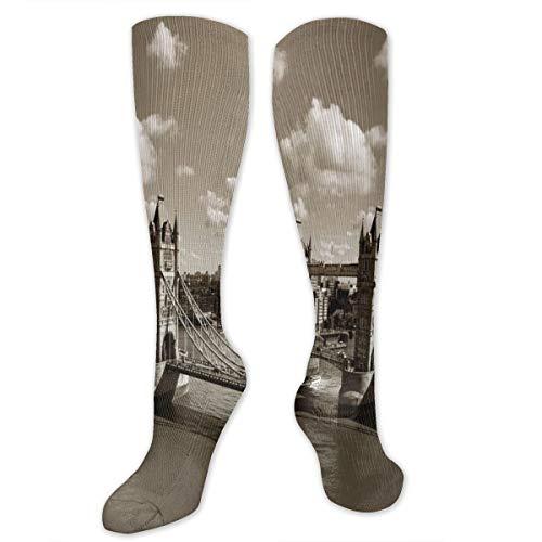 Unisex Highly Elastic Comfortable Knee High Length Tube Socks,Tower Bridge In London City Cloudy Sky Old Historic Cityscape Nostalgia England,Compression Socks Boost Stamina,Sepia White - Tile Bridge