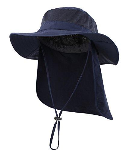 Magracy Unisex Outdoor Breite Krempe Sonnenhut Mesh Masche UPF 50+ Safari Hut mit Nackenkl