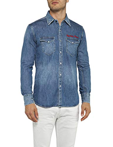 REPLAY M4981r.000.26c 490 Camisa Vaquera, Azul (Medium Blue 9), X-Large para Hombre