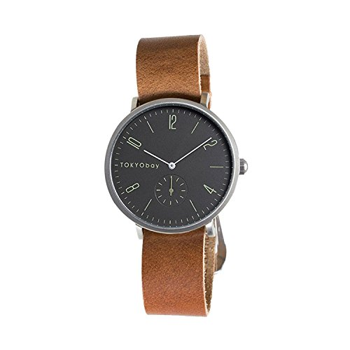 tokyobay-t388-br-bk-mens-stainless-steel-brown-leather-band-black-dial-smart-watch