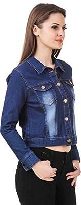 G.S.A ENTERPRISES Denim 3/4 Sleeves Comfort Fit Regular Collar Blue Jacket for Women