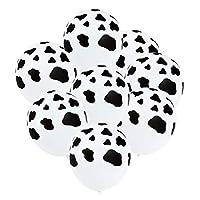 Toyvian 100Pcs Cow Balloons Latex Balloons Animal Decoration for Halloween Birthday Festivals Party Wedding White Black