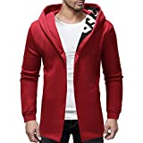 Winterjacke Parka Jacke Herren Hoodie Mantel Männer Slim Fit Trenchcoat mit Kapuze Stricken Mode Cardigan Lange Trenchcoat Manner Kapuze Feste Jacke Strickjacke Lange HüLsen Outwear ABsoar