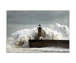 120x80cm - Fotodruck auf Leinwand und Rahmen Meer Welle Sturm Brandung Leuchtturm - Leinwandbild auf Keilrahmen modern stilvoll - Bilder und Dekoration