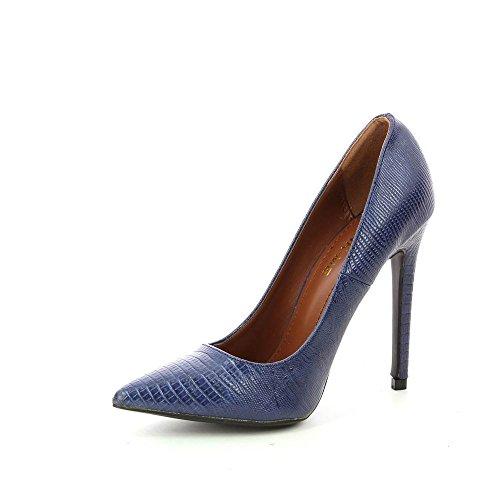 Go Tendance - Escarpins stiletto bout pointu effet python - Talon 11 cm - Femme Bleu
