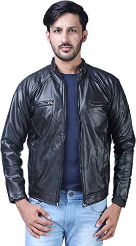 Life Trading Fashionable Faux Leather Jacket for Men and Boys(Black) (Medium)