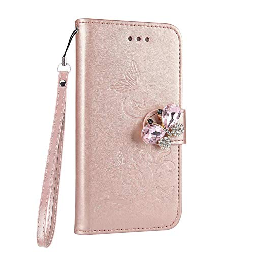 Cover per iphone 6 plus / 6s plus oro rosa, custodia iphone 6 plus a portafoglio, cover iphone 6s plus a libro, surakey elegante farfalla wallet cover iphone 6 plus case iphone 6s plus in pelle decorare con 3d farfalla brillante diamante bling glitter strass multifuntionale leather borsa tasca antiurto doppia protezione protettiva bumper interno tpu silicone custodia per iphone 6 / 6s plus apple con chiusa magnetica / porta carte di credito / funzione di supporto