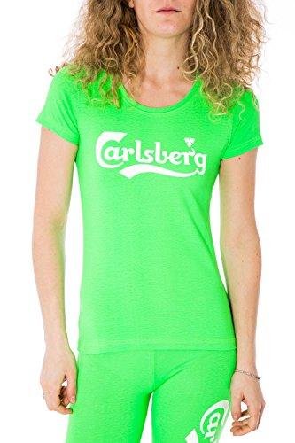 CARLSBERG - T-shirt donna stampata regular fit cbd2162 Verde