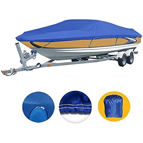 Tela resistente in poliestere 210d Marine Grade copertura impermeabile Trailerable barca, colore: blu Pacifico, Fits V-Hull, tri-hull, Runabout per barca, Full Size Per barca, 11-13ft