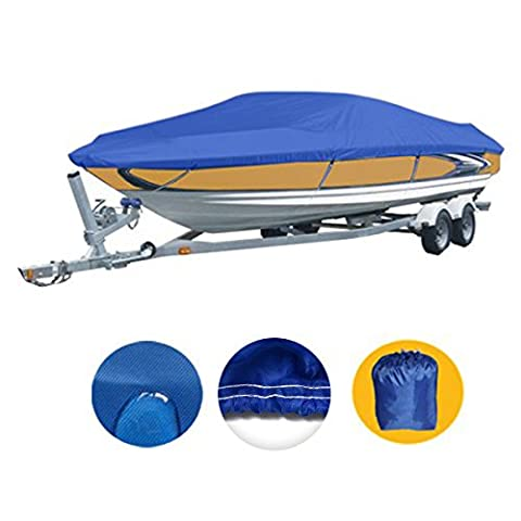 Heavy Duty 210D Marine Grade Polyester Canvas Trailerable Waterproof Boat Cover, Pacific Blue,Fits V-Hull,Tri-Hull, Runabout Boat Cover,Full Size Boat Cover