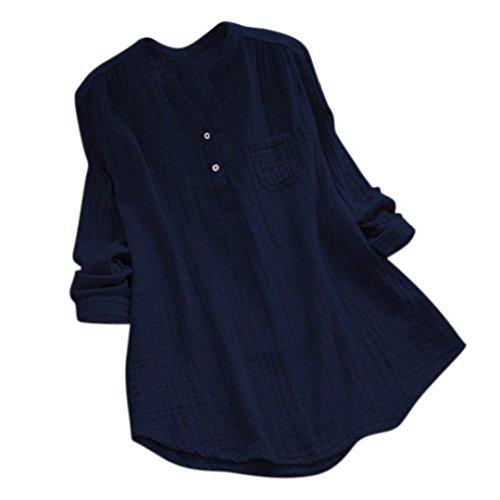 OYSOHE Frauen Stehkragen V-Neck Langarm Solide Baumwolle Beiläufige Lose Tunika Oberteile T-Shirt Damen Bluse