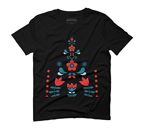 Retro Nordic Folk Men's Graphic T-Shirt - Design By Humans Black
