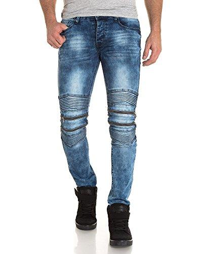 BLZ jeans - Jeans bleu nervuré et zippé Bleu