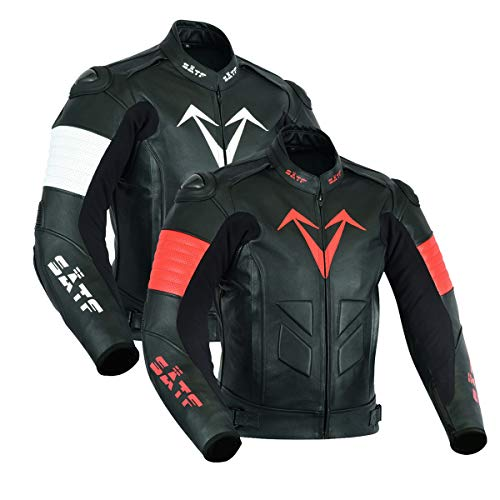 SÄTF Leder Motorradjacke Lederjacke Rindleder Biker mit Level 2 (CE) Protektoren (M, Schwarz/Rot) -