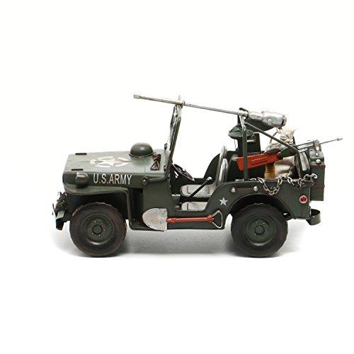 Modellino jeep militare in ferro, da 31x16x17 cm