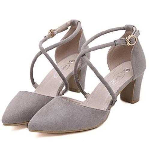 GS~LY Shallow bocca tacchi alti scarpe scamosciata fibbia grosso tacchi tacchi alti scarpe Joker Black
