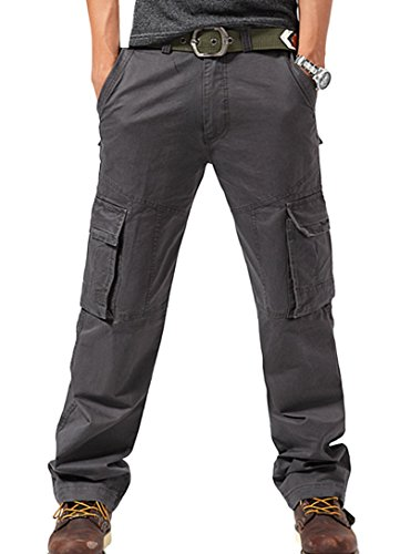 Feoya Herren Arbeitshose Wasserwäsche vintage Cargohose Mehrere Tasche Hosen aus Baumwolle Trekkinghose Loose-Fit Outdoor Freizeithose größe 33=EU 48(Taille 85cm) Grau